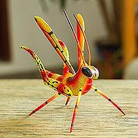 Wood alebrije statuette, 'Chirping Cricket' - Handcrafted Copal Wood Cricket Alebrije from Mexico
