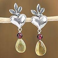 Amber and garnet dangle earrings, 'Peaceful Romance' - Amber and Garnet Heart Dangle Earrings from Mexico