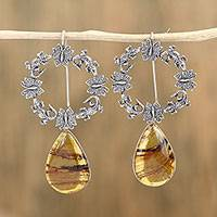 Amber drop earrings, 'Tropical Bliss' - Amber and Sterling Silver Butterfly Drop Earrings
