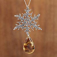 Amber pendant necklace, 'Tropical Star' - Sterling Silver and Amber Crocodile Pendant Necklace