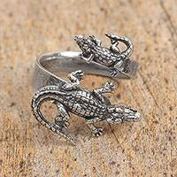 Sterling silver wrap ring, 'Crocodile Duo' - Sterling Silver Crocodile Wrap Ring from Mexico