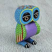 Wood alebrije figurine, 'Night Fantasy' - Wood Owl Sculpture with Hand Painted Star Design from Mexico