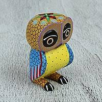 Wood alebrije figurine, 'Dream Owl' - Mexican Hand Decorated Copal Wood Owl Alebrije Sculpture