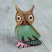 Wood alebrije figurine, 'Dream Vision' - Hand-Carved Copal Wood Owl Alebrije Sculpture from Mexico