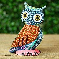 Wood alebrije figurine, 'Owl Delight' - Handcrafted Copal Wood Alebrije Owl Figurine from Mexico
