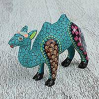 Wood alebrije figurine, 'Geometric Camel' - Mexican Alebrije Camel Sculpture with Geometric Designs