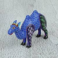 Wood alebrije figurine, 'Colorful Camel' - Wood Alebrije Camel Figurine in Vivid Colors from Mexico