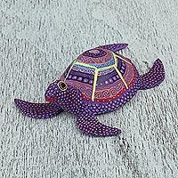 Wood alebrije figurine, 'Exquisite Turtle' - Handcrafted Copal Wood Alebrije Turtle Figurine