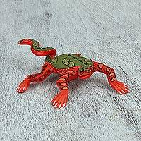 Wood alebrije figurine, 'Iguana Delight' - Handcrafted Copal Wood Lizard Alebrije Figurine