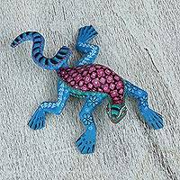 Wood alebrije figurine, 'Iguana Joy' - Copal Wood Alebrije Lizard Figurine from Mexico