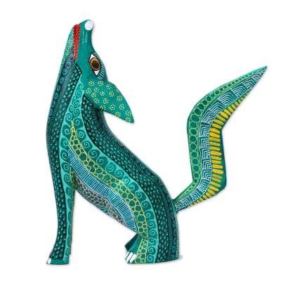 Wood alebrije figurine, 'Coyote Delight' - Handcrafted Copal Wood Coyote Alebrije Figurine