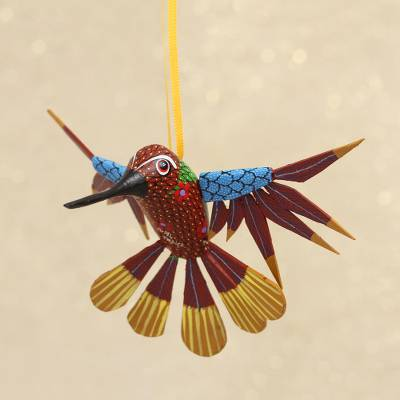 Wood alebrije ornament, 'Fanciful Flutter in Red' - Copal Wood Red Multicolor Alebrije Hummingbird Ornament