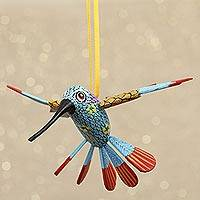 Wood alebrije ornament, 'Hummingbird Song' - Handcrafted Copal Wood Alebrije Bird Ornament
