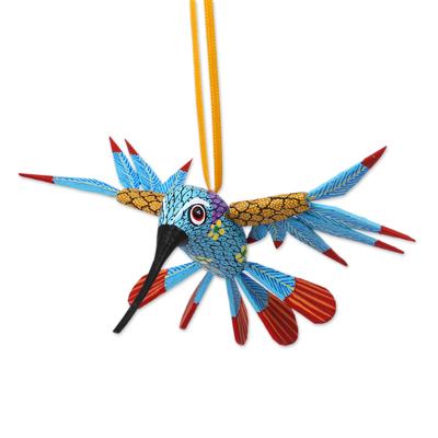 Wood alebrije ornament, 'Hummingbird Song' - Handcrafted Copal Wood Alebrije Bird Ornament