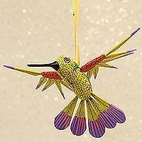 Wood alebrije ornament, 'Fanciful Flutter in Yellow' - Copal Wood Yellow Colorful Alebrije Hummingbird Ornament