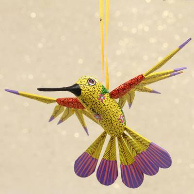 Wood alebrije ornament, Fanciful Flutter in Yellow