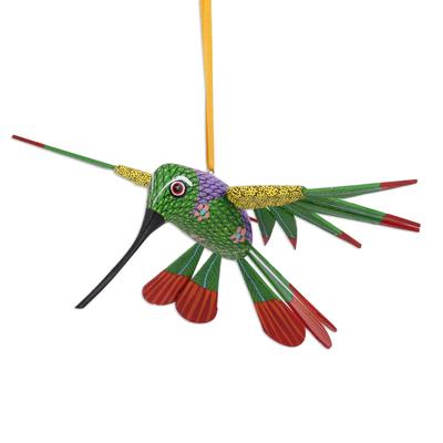 Wood alebrije sculpture, 'Natural Flight' - Wood Alebrije Hummingbird Ornament from Mexico