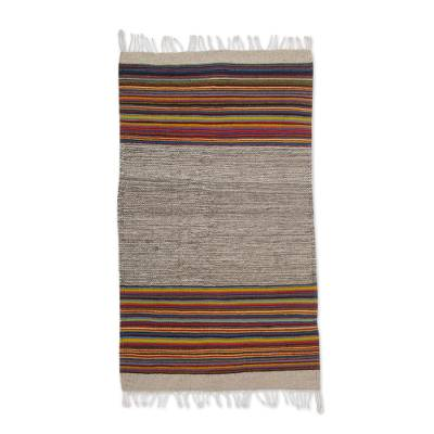 Zapotec ool area rug, 'Colorful Lines' (2x3) - Zapotec Striped Wool Area Rug (2x3) from Mexico