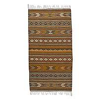 Zapotec wool area rug, 'Leaves and Mountains' (2.5x5) - Zapotec Wool Area Rug in Brown (2.5x5) from Mexico