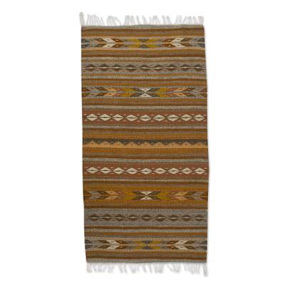 Zapotec Wool Area Rug In Brown 2 5x5 From Mexico