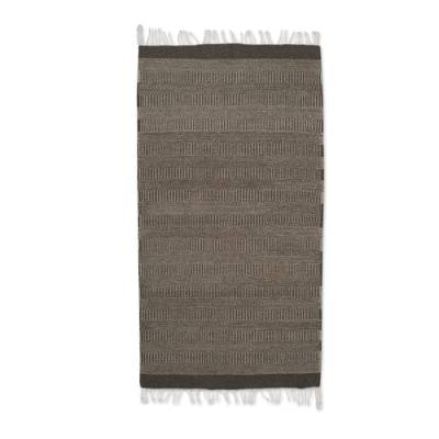 Wool area rug, 'Natural Zebra,' (2.5x5) - Striped Wool Area Rug in Ivory and Stone (2.5x5) from Mexico