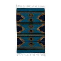 Zapotec wool area rug, 'Teal Geometry' (2x3) - Zapotec Geometric Wool Area Rug in Teal (2x3) from Mexico