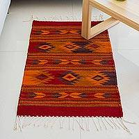 Zapotec wool area rug, 'Red Geometry' (2x3) - Zapotec Geometric Wool Area Rug in Red (2x3) from Mexico