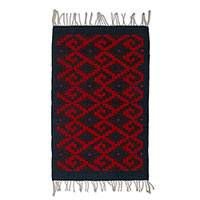 Zapotec wool area rug, 'Spiraling Stairs' (2x3) - Zapotec Crimson and Indigo Wool Area Rug (2x3) from Mexico