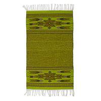 Zapotec wool area rug, 'Chartreuse Geometry' (2x3.5) - Zapotec Geometric Wool Area Rug in Chartreuse from Mexico