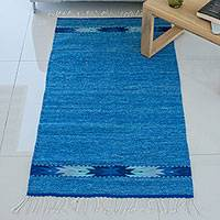 Wool area rug, 'Dreamy Geometry' (2.5x5) - Handwoven Geometric Wool Area Rug in Blue from Mexico