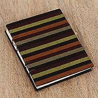 Cotton and handmade paper journal, 'Sophisticated Stripes' - Handcrafted Striped Natural Fiber Journal from Mexico