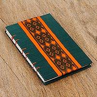 Cotton and handmade paper journal, 'Textile Iconography' - Handcrafted Geometric Natural Fiber Journal from Mexico