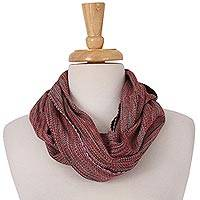 Cotton infinity scarf, 'Fashionable Chill' - Handwoven Red-Tone Cotton Infinity Scarf from Mexico