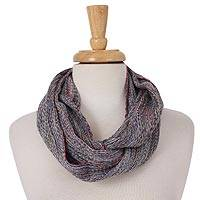 Cotton infinity scarf, 'Sophisticated Winter' - Handwoven Grey-Tone Cotton Infinity Scarf from Mexico