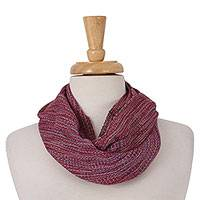 Cotton infinity scarf, 'Winter Sophistication' - Handwoven Cotton Unisex Infinity Scarf from Mexico
