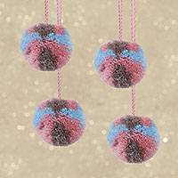 Wool ornaments, 'Soft Spheres' (set of 4) - Set of Four Multicolored Wool Ornaments from Mexico