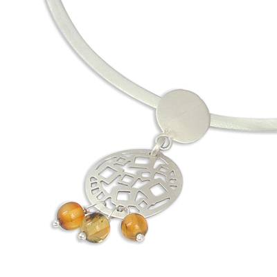 Amber and Sterling Silver Circles Pendant Collar Necklace