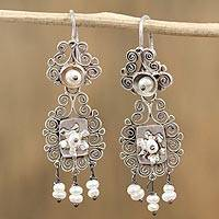 Cultured pearl chandelier earrings, 'Spiral Celebration' - Cultured Pearl and Sterling Silver Chandelier Earrings