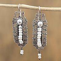Cultured pearl dangle earrings, 'Pearl Drop Parade' - Cultured Pearl and Sterling Silver Dangle Earrings