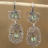 Sterling silver dangle earrings, 'Spirals in the Dew' - Green Glass Bead Sterling Silver Scrolls Dangle Earrings