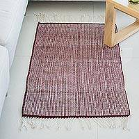 Zapotec wool rug, 'Versatile in Maroon' (2x3) - 100% Wool Handwoven Maroon and Beige Zapotec Wool Rug (2x3)
