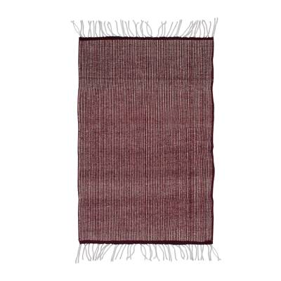 100% Wool Handwoven Maroon and Beige Zapotec Wool Rug (2x3)