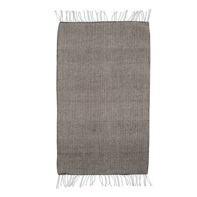 100% Wool Handwoven Grey and Beige Striped Area Rug (2x3)