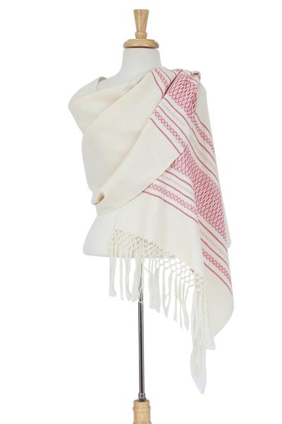 Zapotec cotton rebozo shawl, 'Morning Rose' - Off-White and Fuchsia Striped Handwoven Cotton Rebozo