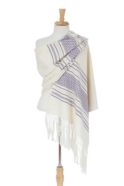 Zapotec cotton rebozo shawl, 'Daylight Sky' - Off-White and Purple Striped Handwoven Cotton Rebozo