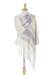 Zapotec cotton rebozo shawl, 'Daylight Sky' - Off-White and Purple Striped Handwoven Cotton Rebozo thumbail