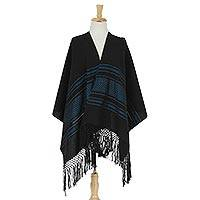 Zapotec cotton rebozo shawl, 'Night Band in Blue' - 100% Cotton Handwoven Black with Blue Stripes Rebozo
