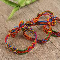 Cotton wristband bracelets, 'Colorful Concoction' (set of 3) - Colorful Handwoven Cotton Wristband Bracelets (Set of 3)