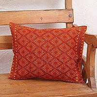 Cotton cushion cover, 'Sunrise Brocade' - Handwoven Orange Diamond Brocade Cotton Cushion Cover