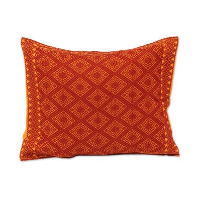 Cotton cushion cover, 'Sunrise Brocade' - Handwoven Orange Diamond Brocade Cotton Cushion Cover